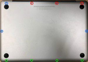 macbook proの裏蓋ネジ場所