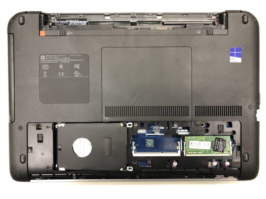 HP ProBook 450 G2のHDDカバーを外したところ